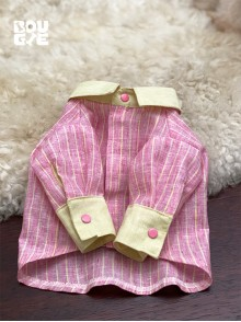 Pink Striped Japanese Linen - Long Sleeve Classic Collar